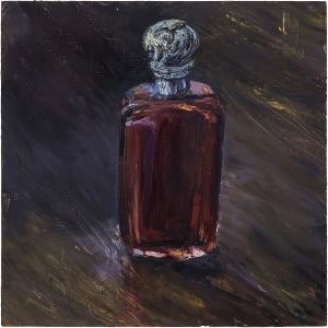 "'Antique Perfume Bottle, Red'. Oil on 13x13"" wood. Rose Strang 2020"