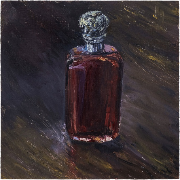"'Antique Perfume Bottle, Red'. Oil on 13x13"" wood. Rose Strang 2020"