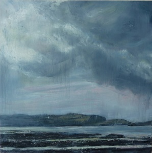 'Changing Weather, Loch Na Keal'. Oil on 20x20 inch wood panel. Rose Strang 2021