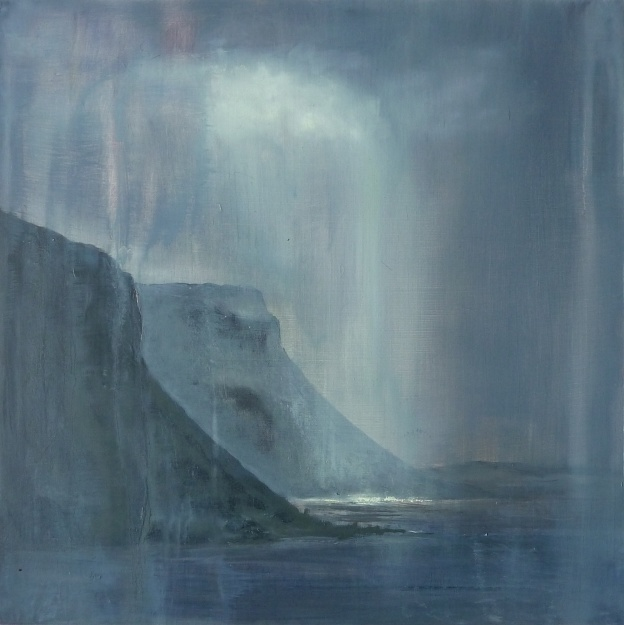 'Cliffs of Griburn, Loch na Keal. Mull'. Oil on 20x20 inch wood panel. Rose Strang 2021