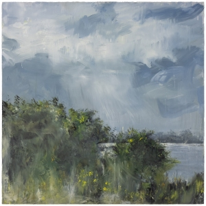 Sutton Hoo Series, Hawthorn. River Deben. Oil on 20×20 inch wood. Rose Strang 2021
