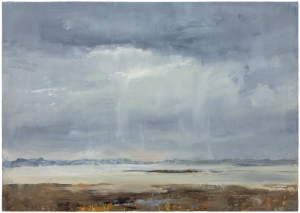 Sutton Hoo Series. Deben Estuary. Oil on 23.4 x 16.5 inch wood. Rose Strang 2021