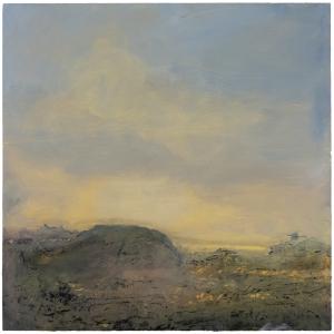 Sutton Hoo Series. Mound. Oil on 20×20 inch wood. Rose Strang 2021