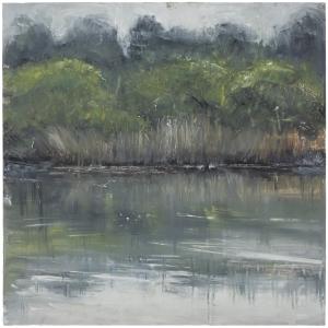 Sutton Hoo Series. River Bank, River Deben. Oil on 20×20 inch wood. Rose Strang 2021