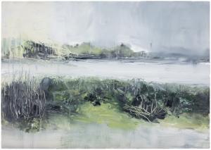 Sutton Hoo Series. River Deben. Oil on 16.5 x 23.4 inch wood. Rose Strang 2021