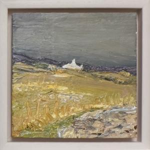 "Sun and Rain, Cnocoran. Iona. Oil on 6x6"" wood. Rose Strang 2021"
